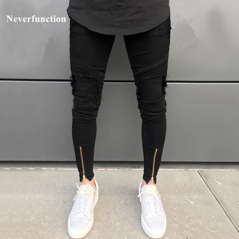 Neverfunction High Street uomini Strappato pantaloni in denim Fori Hip Hop stretch Hem Zipper moto used skinny jeans biker