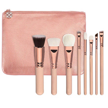 8 PCS Pro Makeup Brushes Soft Fiber Cosmetic Complete Luxury Foundation Blending Kabuki Wood Handle Eye Brush Kit + Cosmetic bag