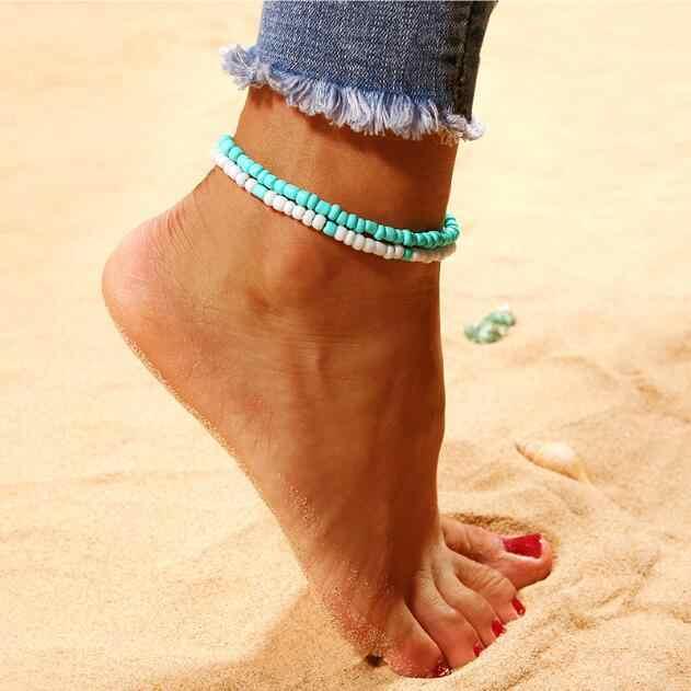 2018 nowy 2 sztuk/zestaw Bohemia Bead Shell rozgwiazda obrączki dla kobiet prezent biżuteria na stopy sandały buty Barefoot Beach bransoletka na kostkę