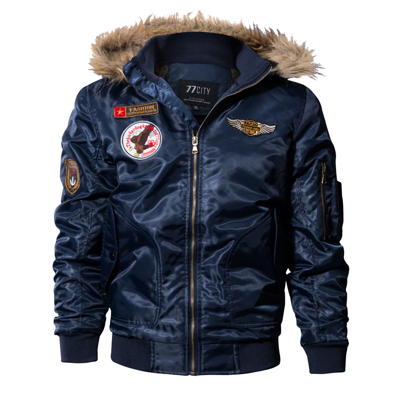 2018 New Winter Army Military Jacket Men Outwear Thick Warm Fur Collar Parka Hooded Coat Cotton-Padded Pilot Bomber Jackets 4XL women winter bomber jackets short warm cotton padded coat silver metal color ladies parka zipper hooded down jacket outwear 2016