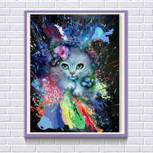 5D DIY Diamond Embroidery Painted Cat Painting Cross stitch Square Rhinestones Home Decoration Wall Sticker Gift F205