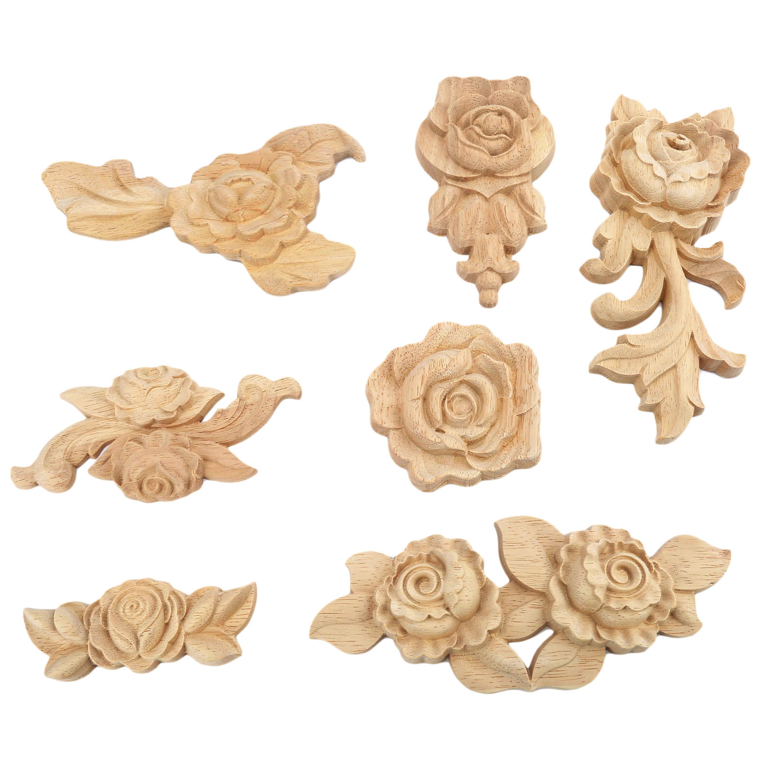 1Pc Woodcarving Corner Decal Unpainted Wood Carved Decal Corner Onlay Applique Frame for Home Furniture Cabinet Door Crafts in Figurines Miniatures from Home Garden