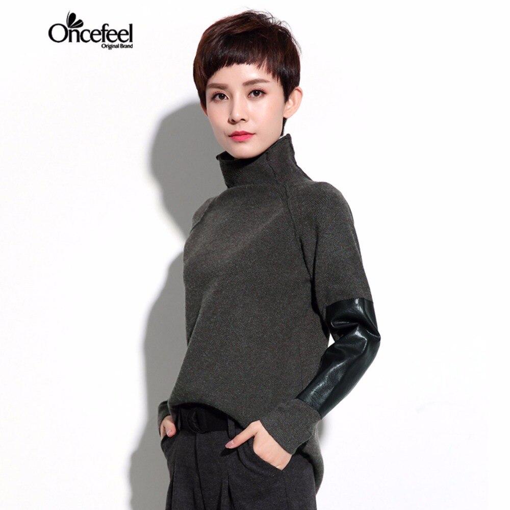 Diseño Original camisa de empalme suéter de Invierno nueva minimalista señora su
