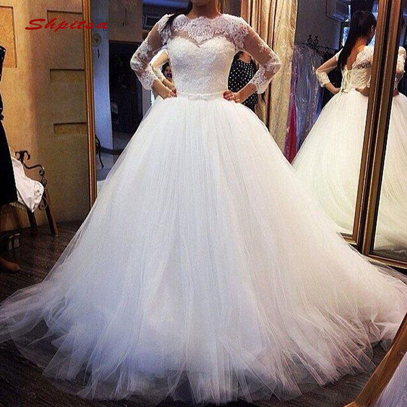 Long Sleeve Lace Wedding Dresses Ball Gown Turkey Tulle Plus Size Bride Bridal Weding Weeding Dresses Wedding Gowns 2019
