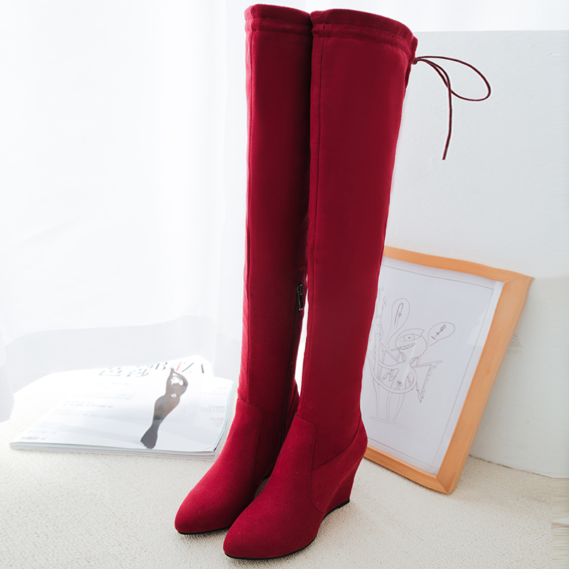 Big Size 34-44 Over the Knee Boots for Women Sexy High Heels Long boots Winter Shoes Round Toe Platform Knight Boots DL7-38 enmayer sexy red shoes woman high heels bowties charms size 34 47 zippers round toe winter over the knee boots platform shoes page 2