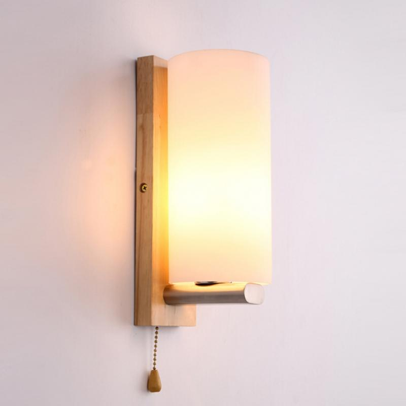 Creative Nordic Wall Lamp Wood Oak Glass Cover Light Diy