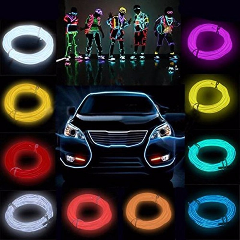 5M Multicolor Flexible Neon EL Wire Rope Tube LED Strip Light 12V Inverter Cold Light Party Dance Car Decor jurus hot sale led 1m 2m 3meters 5m neon light car decor lamp flexible el wire rope tube waterproof strip with 12v inverter