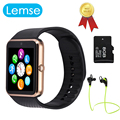 [Top Vendedor] gt08 lemse bluetooth smart watch wearable dispositivos sim apoio tf cartão mp3 smartwatch para apple telefone android os