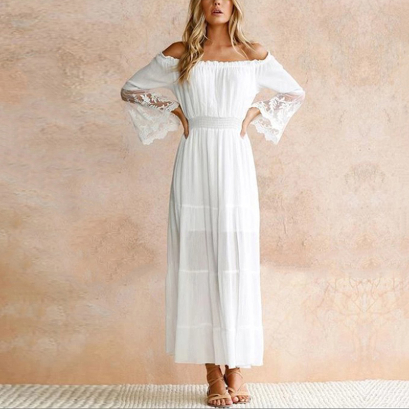 Sexy Off Shoulder Slash Neck Dresses Summer Women White Beach Dress Long Sleeve Loose Casual Lace Boho Maxi Vestidos