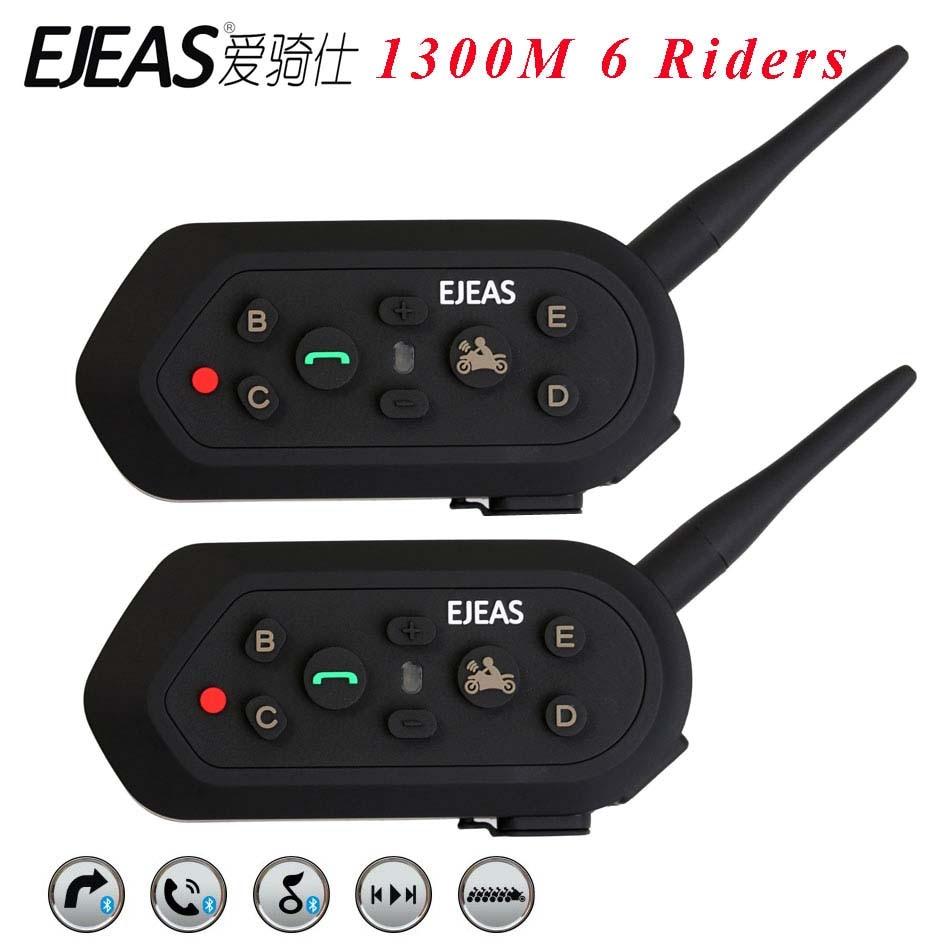 EJEAS 2 pièces casque Interphone 6 cavaliers 1300 M moto Bluetooth 3.0 Interphone casque talkie-walkie casque BT Interphone