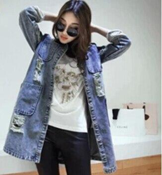 XXXL 2015 Nuevo Señoras de la Moda Jean Outwear Chaqueta de Las Mujeres de la Ed