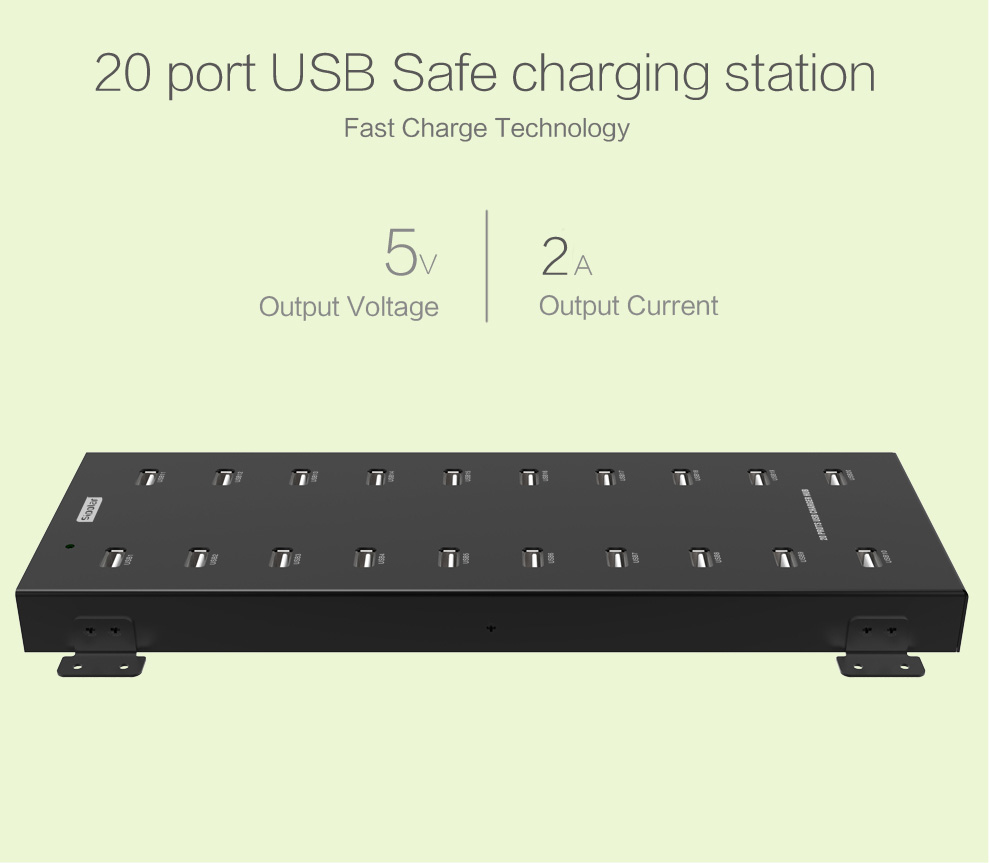 20 port USB charging station for charging in public places
