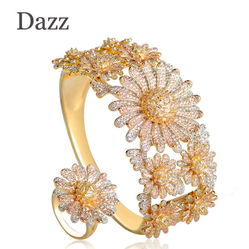 Dazz Big Flower Jewelry Sets For Women Three Tones Bridal Wedding Garment Accessories Copper Zircon Wide Finger Ring Bangle Set