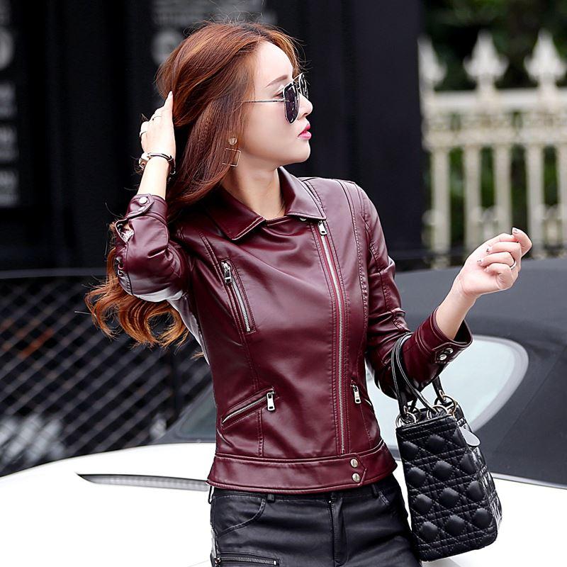 Outwear Mince Courte La Pu Plus Vestes Vêtements gris Noir Faux En Femmes Conception marron Élégant Cuir Manteaux Veste Moto Taille Dames ZOw1YX