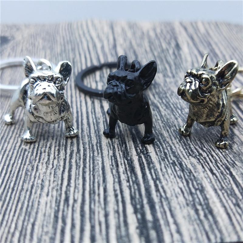 New Bulldog Keychain Purse Pendant Bags Dog design Cars Chains Key Rings