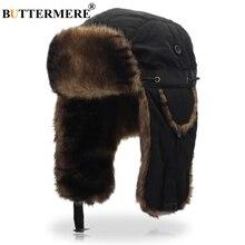 BUTTERMERE Russian Ushanka Soviet Hats Black Bombers Hat Fur Mens Winter  Hats Ear Flaps Winter Outdoor 91adc753d0f4