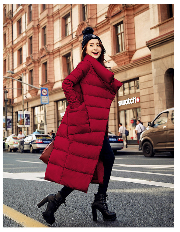 <font><b>2016</b></font> new winter thick warm down jacket and long sections loose and comfortable large pocket fashion was thin female coat image
