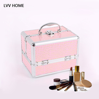 LVV HOME lockable professional makeup storage box/plaid pu leather hree layers makeup artist cosmetic case