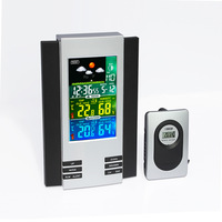 Color screen indoor and outdoor temperature and humidity meter multi function weather forecast electronic table alarm clock