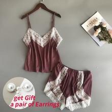 BZEL New Pajamas Sets Sexy Lace Pyjamas For Women V-neck Pij