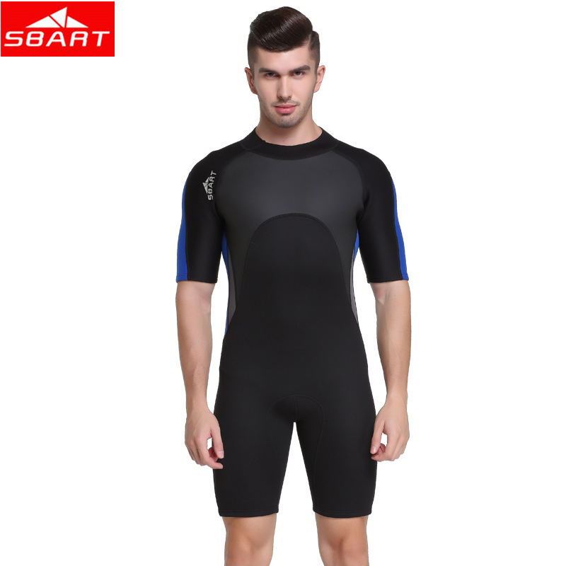 SBART Men 2MM Neoprene Wetsuits One-Piece Short Sleeve Diving Suits Swimming Diving Wet Suits for Underwater Marine Life Hunting sbart 3mm neoprene men s dive wetsuits one piece men spearfishing diving wet suits surf equipment back yzz zipper sport wetsuits