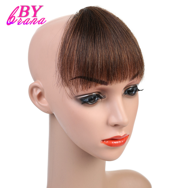 Bybrana 100 Human Hair Bangs Light Brown Color Wig Fringe Fake Clip