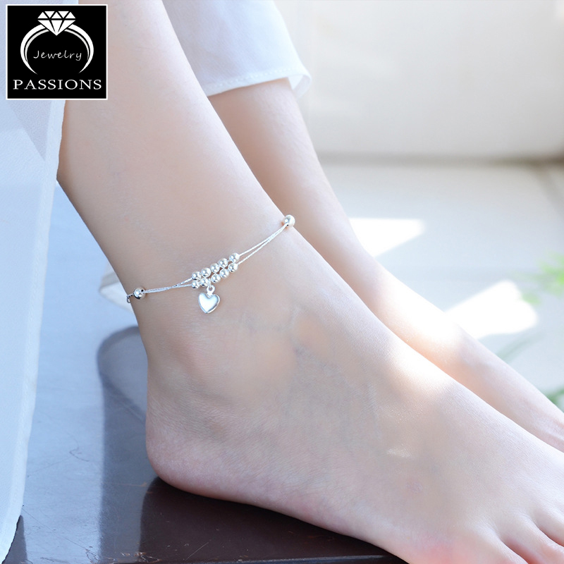 New Fashion Foot Anklet 925 Sterling Ladies Sølv Kugle Armbånd - Mode smykker - Foto 3