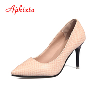 Aphixta Top Quality Women Pums Snake Print Leather Pointed Toe Super 9cm Thin High Heels 2017