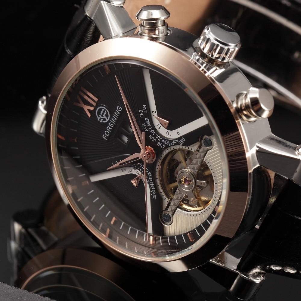 Reloj de acero inoxidable de oro de marca de lujo Tourbillon automático mecánico Steampunk relojes hombres Casual reloj masculino Relojes-in Relojes mecánicos from Relojes de pulsera    1