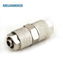 NBSANMINSE 10Pcs/lot BU Brass Straight push on fitting 0-10bar tube Pneumatic air pressure Fitting