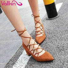 VALLKIN 2017 Flock Sexy Party Women Pumps Square High Heel Pointed Toe Summer Spring Shoes Western Style  Pumps Size 34-39