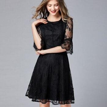 2a236bb8f48 2019 сезон  весна-лето черный кружево платья для женщин плюс sie O средства  ухода