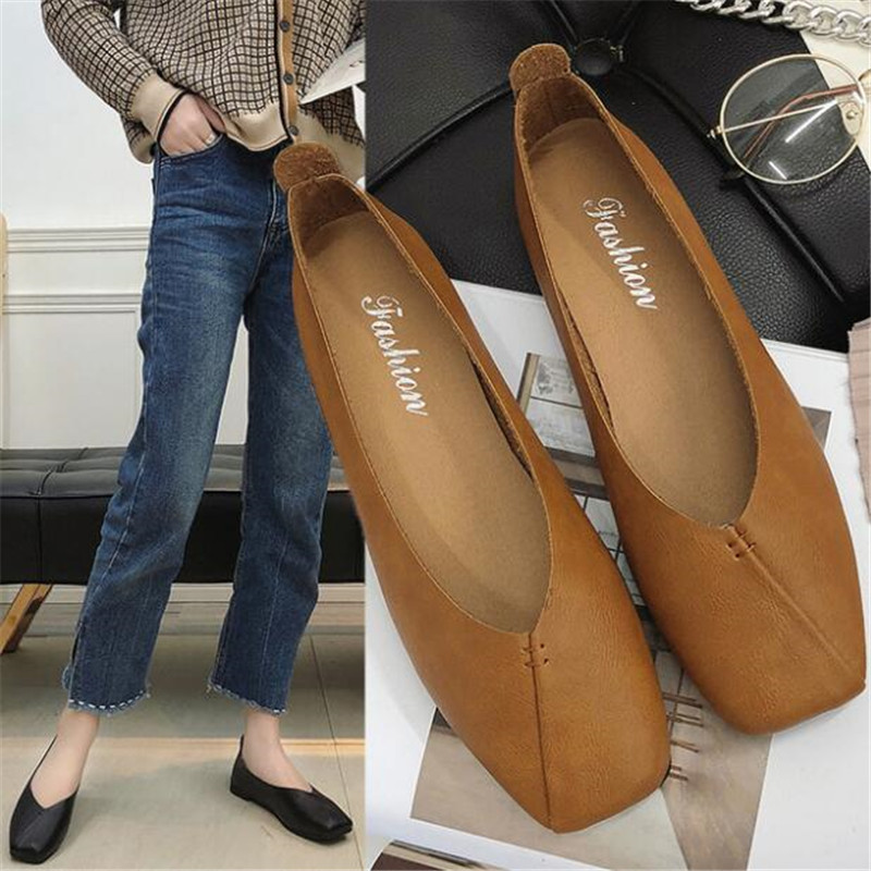 DIWEINI Women Ballet Flats Shoes Genuine Leather Slip on ladies Shallow Moccasins Casual Shoes Female Summer Loafer Shoes Women