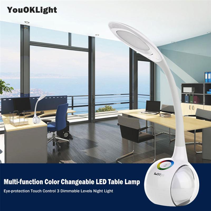 5 В 1A затемнения настольная лампа с ночной Красота двойными бортами Цвет изменения Touch series eye-защиты LED