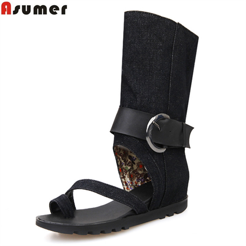 ASUMER 2018 hot sale summer new arrive women boots fashion buckle canvas mid calf boots classic lady prom shoesASUMER 2018 hot sale summer new arrive women boots fashion buckle canvas mid calf boots classic lady prom shoes