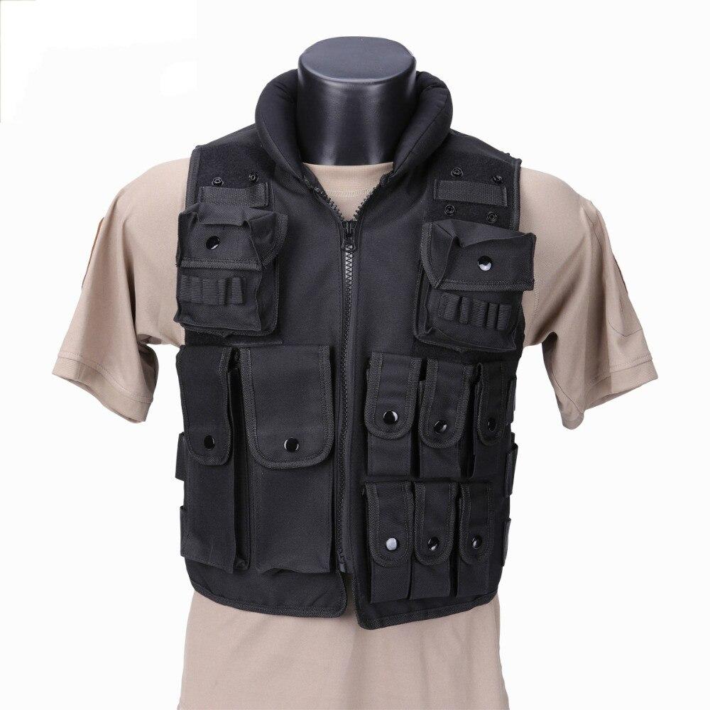 Gilet tactique de Police SWAT gilet tactique militaire armée chasse Molle Airsoft gilet extérieur armure corporelle Swat Combat Painball noir