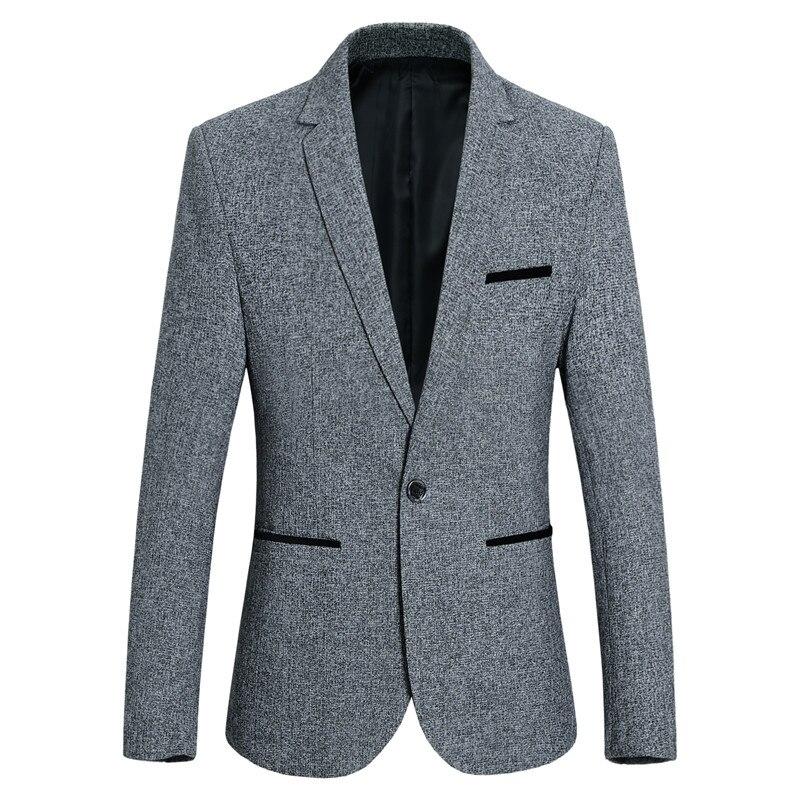 Пиджак мужской Тонкий Повседневный Блейзер Мужская модная однотонная однобортная модель карман черный полосатый декоративные пиджак