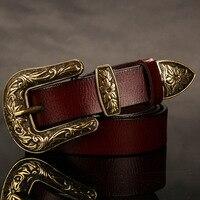 Women Unisex Female THICK DURABLE Retro JEAN COWBOY Leather Belt