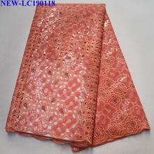 Африканские блестки кружева персикового цвета последняя Высококачественная французская Тюлевая кружевная ткань с блестками для свадебного платья HG-003