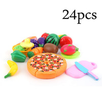 Hot OCDAY 24 Pcs Set Children Pretend Play Cut Fruit Pizza Food Toys Plastic Kids Kitchen