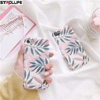STROLLIFE Artistic Plant Leaves Phone Cases For iPhone 8 case Ultra thin Hard PC Scrub Full Cover For iPhone 8 Leaf Capa Coque