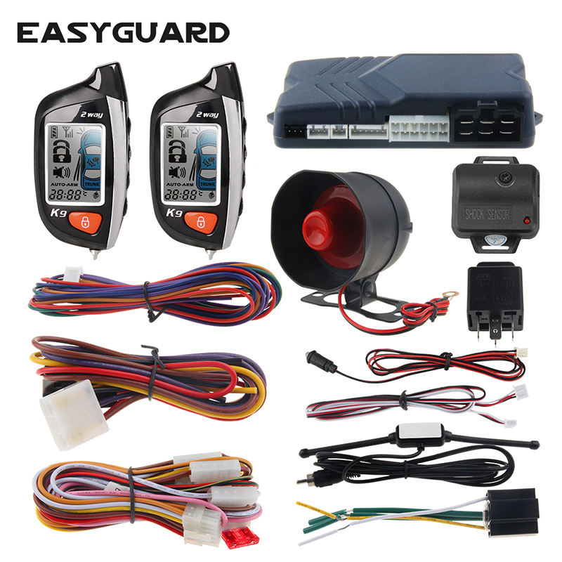 EASYGUARD 2 Way Car Alarm System LCD Pager Display Remote Engine Start Universal Turbo Timer Mode Shock Sensor Alarm security