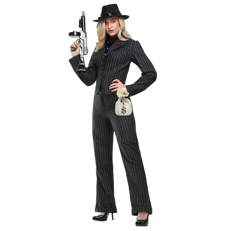 1920s female gangster mobster suit