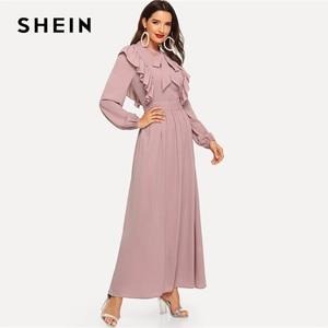 Image 2 - SHEIN rose Abaya cravate cou ajustement et Flare volants plissé taille haute une ligne robe femmes 2019 printemps solide élégant Maxi robes
