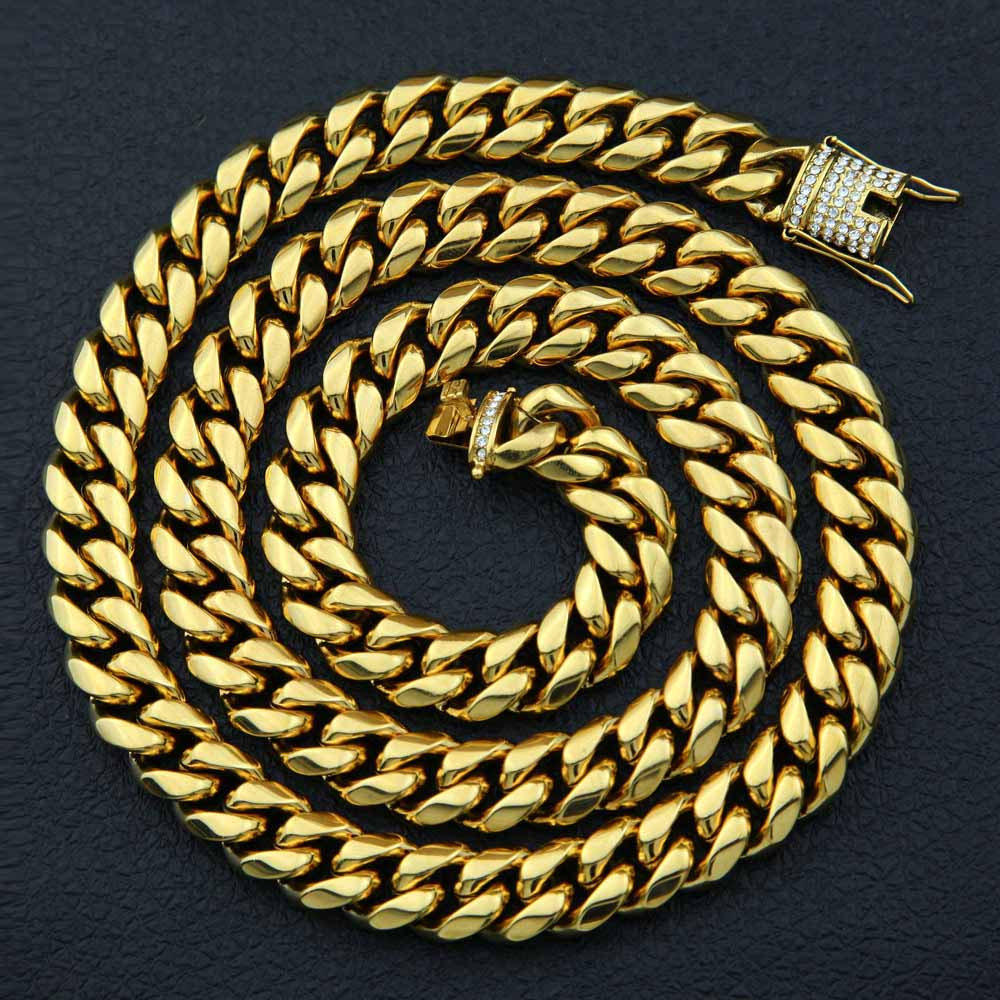 ... Hip hop Men Cuban Miami 10 14mm Chain Necklace Stainless steel  Rhinestone Clasp Iced Out ... 76778e120896