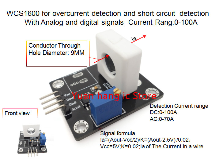 WCS1600 For Overcurrent Detection And Short Circuit Detection With Analog And Digital Signals Current Rang:0-100A 0.02V/1A