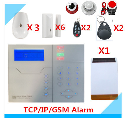 DIY French voice TCP/IP GSM Alarm System RFID tag Home Alarm System with Outdoor Solar Strobe flash Siren Security Alarm system цена
