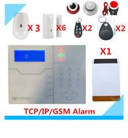 DIY French voice TCP/IP GSM Alarm System RFID tag Home Alarm System with Outdoor Solar Strobe flash Siren Security Alarm system