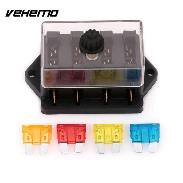 VEHEMO DC32V ABS Car Auto Motor Multipath Way Fuse Box Holder 4PCS