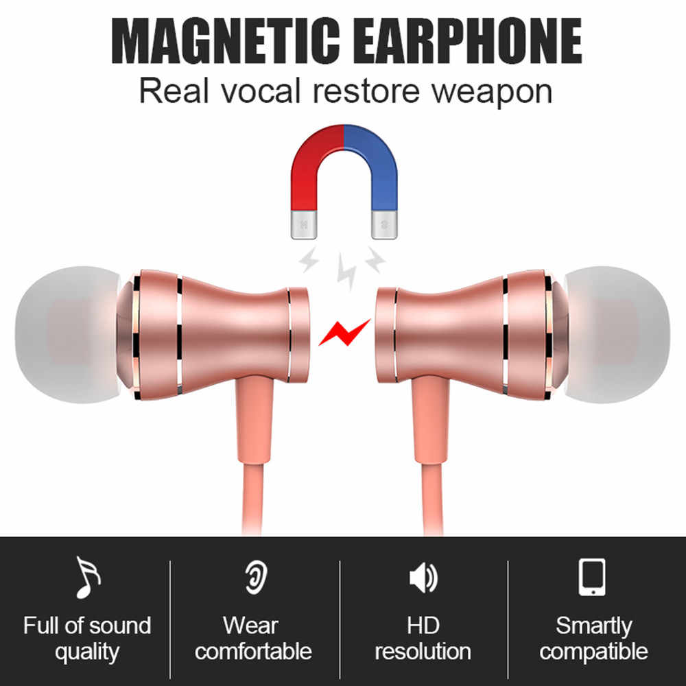 Słuchawki douszne przewodowe wodoodporne magnetyczne muzyka stereo dźwięk mikrofon słuchawkowy słuchawki zestaw słuchawkowy do iphone'a mobilne słuchawki z systemem Android